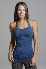 Blue Yoga Top With Ruche Detailing front view
