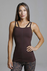 Brown Supportive Double Strap Yoga Tank