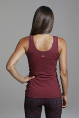 Goddess Yoga Tank(Bordeaux) back thick strap ruching top
