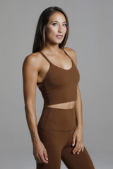 Crop Yoga Tank Top with Built-In Shelf Bra