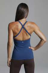 Open Back Criss Cross Back Blue Yoga Top