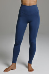 Form Flattering High Waist Blue Leggings with pockets