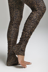 Extra Long Leopard Print Yoga Tights with Side Ruche detailing