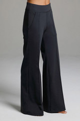 Black Wide Leg Activewear Bottoms with Pockets Side view