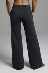 Black Loose Fitting Yoga Pants back view