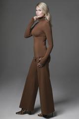 Perfect Wide Leg Pant & Grace Yoga Turtleneck in Bronze