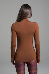 Grace Yoga Turtleneck (Bronze) back high neck silhouette