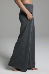 Cozy Boho Yoga Pant in Charcoal Grey side view
