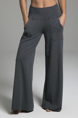 Grey Loungewear Bottoms with Pockets front view