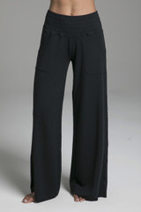 Wide Leg Pocketed Sweatpants in Black front view
