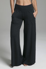 Cozy Boho Yoga Pants in Black with Pockets