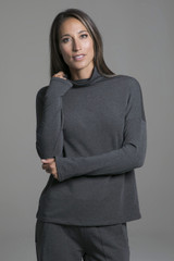 Ultra Soft Terry Grey Loungewear Top front view