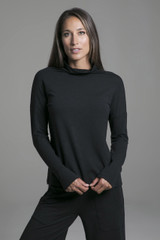 Cozy Black Funnel Neck Pullover front view