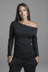 Cozy Black Off the Shoulder Yoga Pull Over Long Sleeve Top