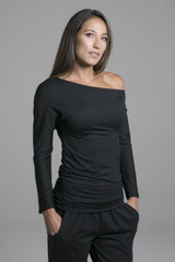 Ultra Soft Asymmetrical Loungewear Yoga Top front view