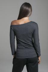Asymmetrical One Shoulder Long Sleeve Yoga Top back view