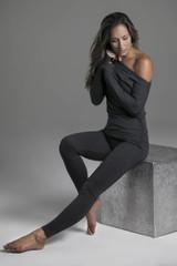 Charcoal Heather Pocket Yoga Legging & Cozy Off the Shoulder Pull Over