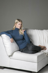 Turtleneck and Knit Slouchy Pant Loungewear Outfit Couch Lifestyle