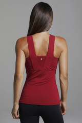 Holiday Red Halter Yoga Top back view