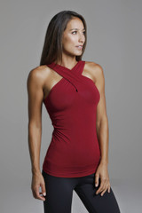 Goddess Luxe Halter Yoga Tank in Crimson Red