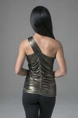 Long Form Flattering Yoga Top in Gold back view