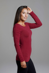 Ruche Detail Long Sleeve Red Shirt side view