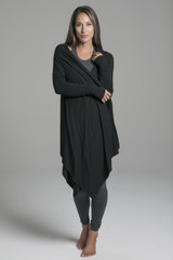 Black Knit Yoga Wrap front view