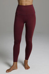 Dark Red High Waisted Leggings front view