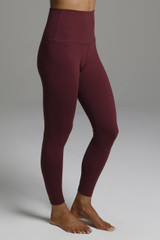 High Waisted 7/8 Yoga Leggings in Red Bordeaux