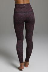 Form Flattering Long Yoga Leggings in Red Print back view