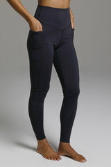 High Rise Long Black Leggings with Pockets