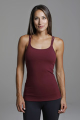 Supportive Red Yoga Tank with Built-in Shelf Bra front view