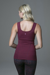 Scoop Back Yoga Cami in Deep Red back view