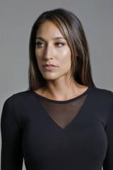 Mesh Long Sleeve Top in Black Close-Up Shot