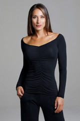 Ruched V-Neck Long Sleeve Top front neckline view
