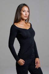 Ruched V-Neck Long Sleeve (Black)