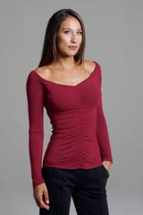 Crimson Ruched V-Neck Long Sleeve