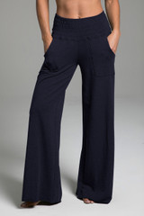 Cozy Boho Yoga Pant (Navy) front view with pockets