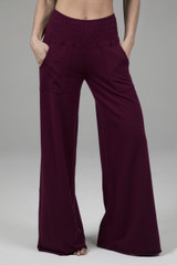 Cozy Boho Yoga Pant (Merlot) front view with pockets