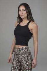 Kathryn Midi Yoga Tank in Black