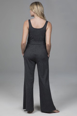 yoga jumpsuit with pockets in charcoal heather