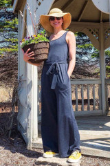valerie knopik in the charcoal jumpsuit