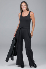Black Jumpsuit styled for fall
