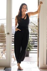 Harem Jogger on Tiffany Cruikshank paired with Seva Bodysuit