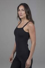 Ribbed Yoga Support Tank Black