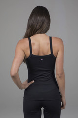 strappy yoga tank in ribbed black fabric