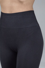 High waist ribbed seamless leggings in black