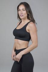 Seamless Ribbed Yoga Bra in black