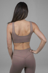 Scoop back sports bra in taupe