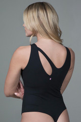 yoga bodysuit with oval shaped cut-out